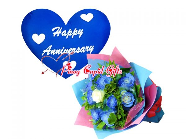 blue roses and blue anniversary pillow