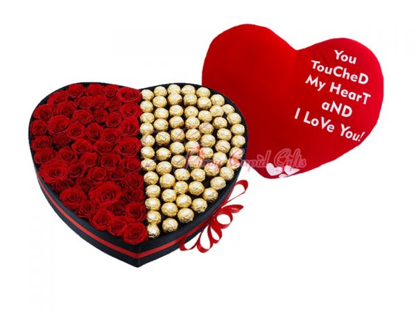 50 roses and 50 ferrero in heart box plus big heart pillow