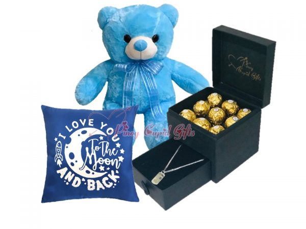 romantic box with dog-tag necklace and ferrero plu bear and pillow