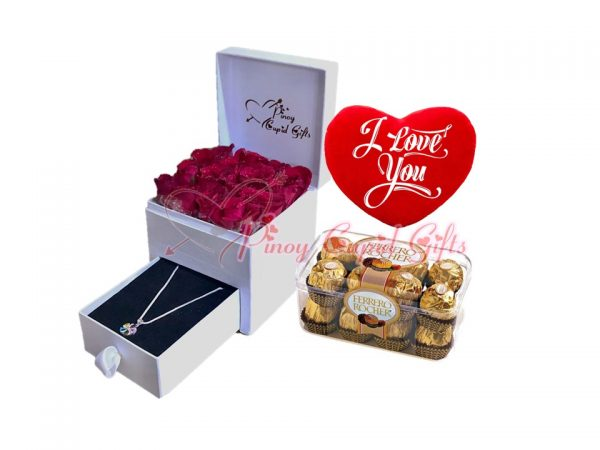 romantic box with roses & necklace plus ferrero chocolate and pillow