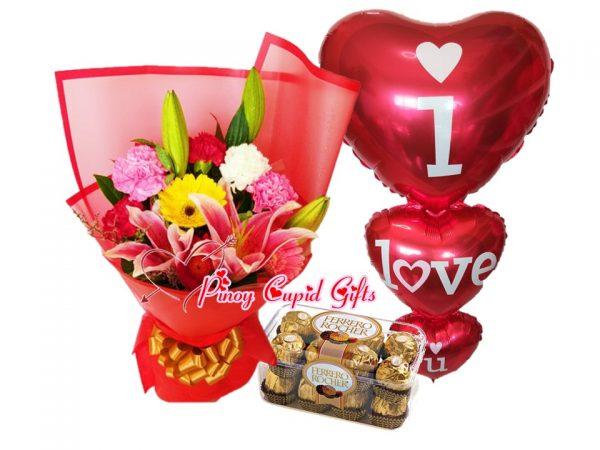 mixed flowers, ferrero chocolate and balloons