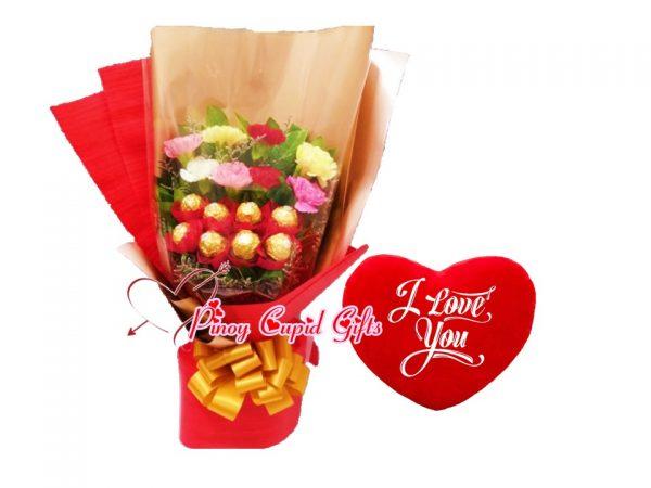 "Mixed Gerberas with Ferrero (8pcs) bouquet Heart-shaped ""I Love You"" Pillow"