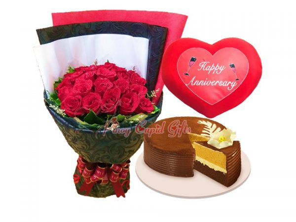 2 Dozen Red Roses Bouquet Cappuccino Creme Cake by Red Robbin Happy Anniversary Pillow