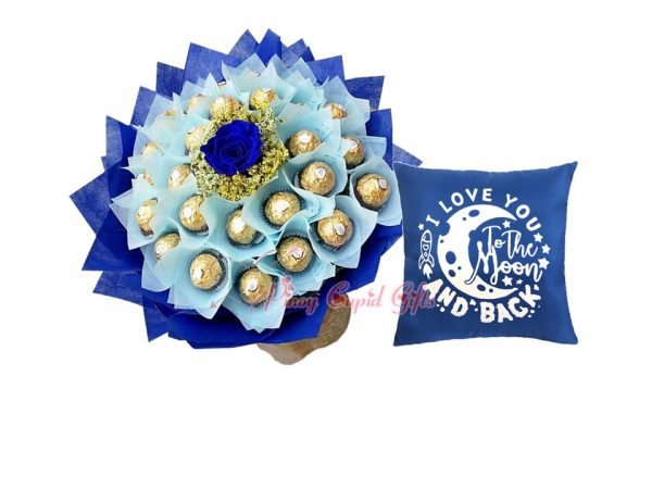 """24 pieces Ferrero Bouquet, Blue """"I Love You to the Moon..."""" Pillow"""