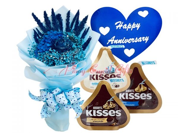 everlasting blue dried flowers, kisses chocolate and anniversary pillow