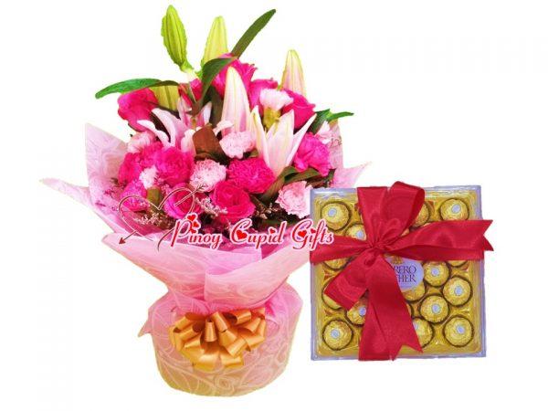 mixed flowers and 24pcs ferrero