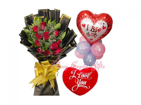 roses, pillow, and balloons