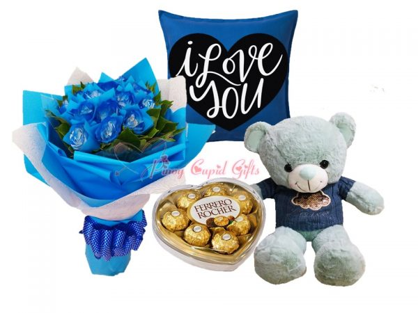 blue roses, chocolate, teddy bear and message pillow
