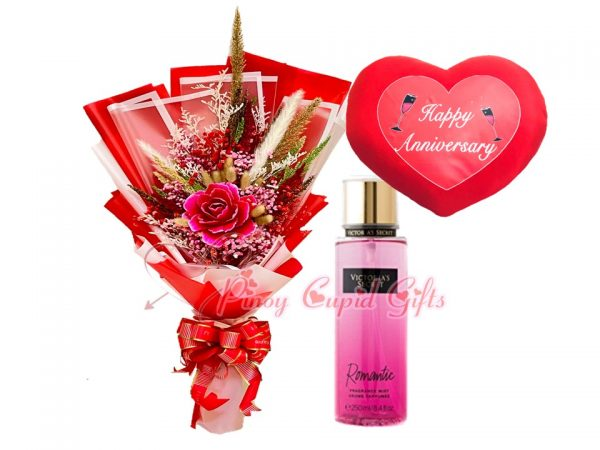 dried flowers, perfume and anniversary pillow