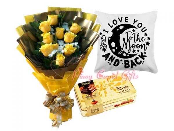 yellow roses, chocolate and message pillow