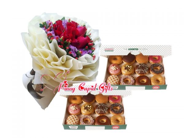 roses and 2 dozens donuts