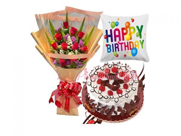 1 dozen red roses, Black Forest Cake, Birthday Pillow