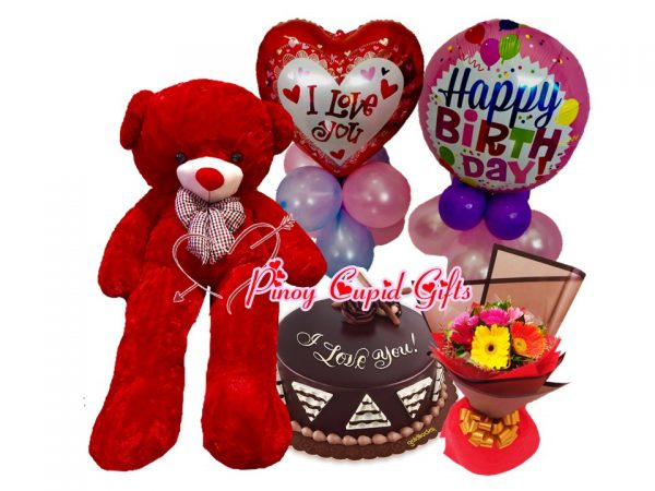 4ft life-size bear, chocolate cake, carnations, and birthday balloons