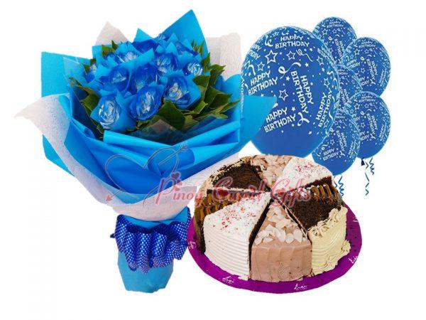 blue roses, carousel cake, birthday balloons