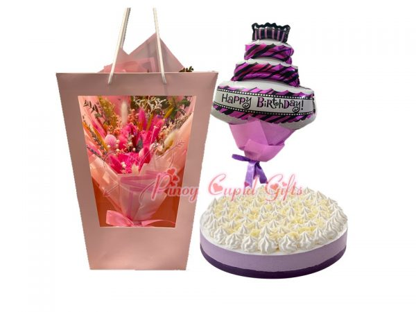 dried flowers, ube mousse cake and birthday balloons