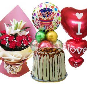 Mixed flowers, Mango Bravo Cake and Birthday balloons