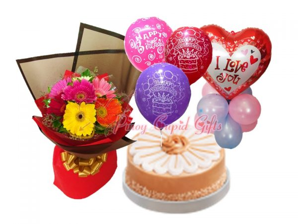"""Mixed Gerberas Bouquet Yema Caramel Cake by Red Ribbon Mylar, """"I Love You"""" Balloons"""