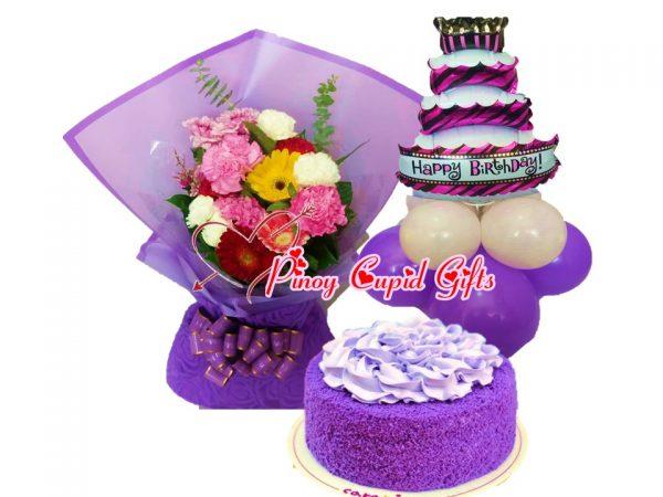 Mixed Gerberas, ube cake and balloons