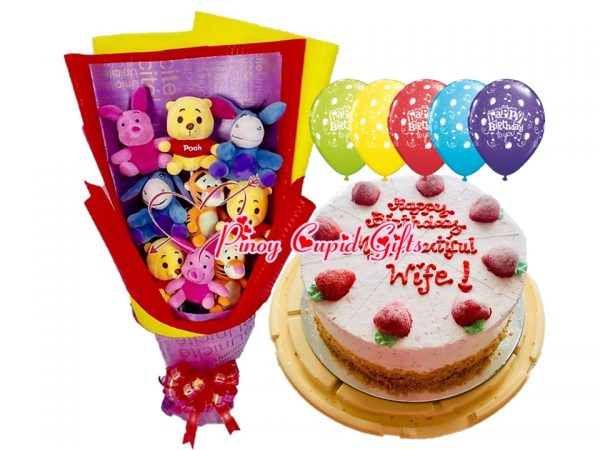 character bouquet, ice cream cake and birthday balloons