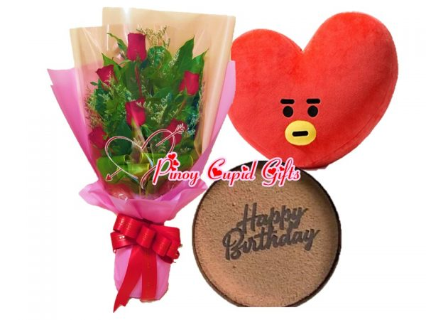 roses, dream cake & BTS Tata pillow