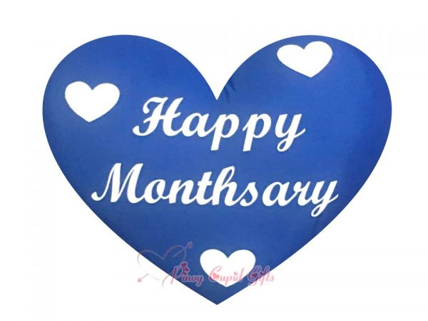 """Blue Heart-Shaped, """"Happy Monthsary"""" Pillow"""