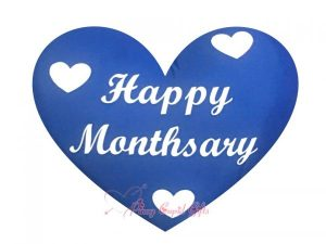 BLUE HEART-SHAPED MONTHSARY PILLOW