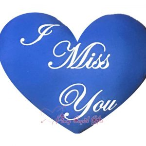 """Blue Heart-Shaped, """"I Miss You"""" Pillow"""