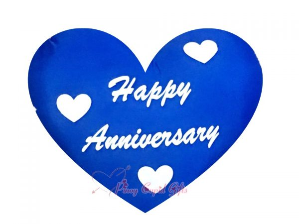 "Blue Heart-Shaped, ""Happy Anniversary"" Pillow"