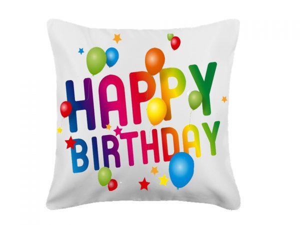 """White, """"Happy Birthday"""" Pillow"""