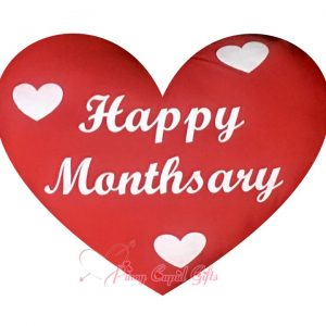 """Red Hear-Shaped """"Happy Monthsary"""" Pillow"""