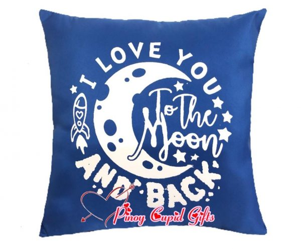 """Blue """" I Love to the Moon AND Back"""" Pillow"""