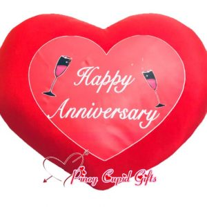 Red Heart-Shaped Anniversary Pillow