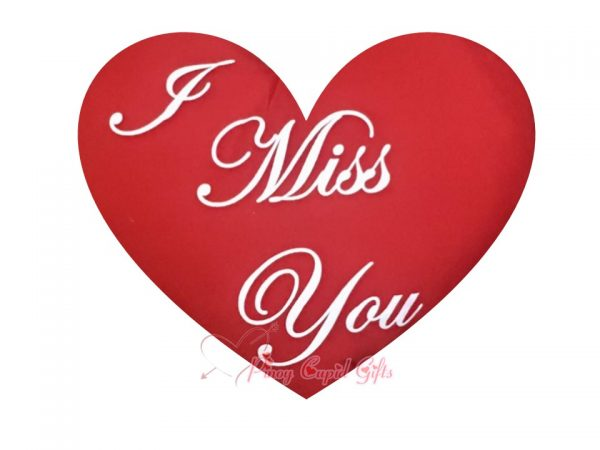 """Red Heart-Shaped, """"I Miss You"""" Pillow"""