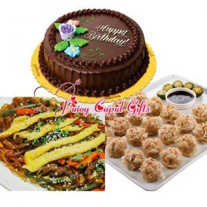 Susie's Cuisine Japchae Bilao, Pork Siomai, Goldilocks Chocolate Chiffon Cake