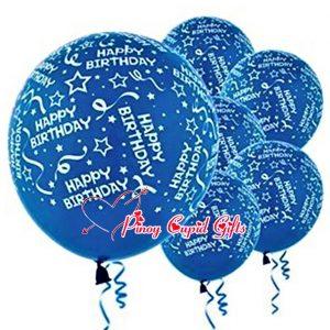 6 Blue Birthday Balloons
