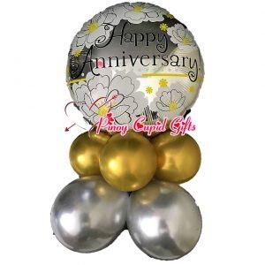 Silver Happy Anniversary Mylar Balloons