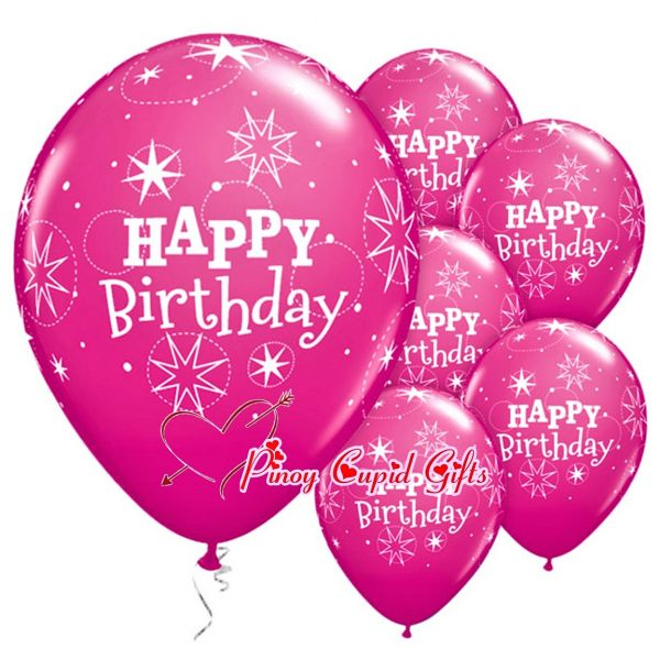 6 Pink Birthday Balloons