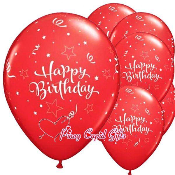6 Red Birthday Balloons