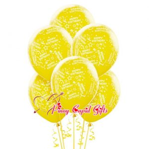 6 Yellow Birthday Balloons