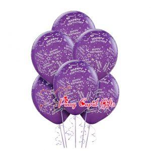 6 Purple Birthday Balloons