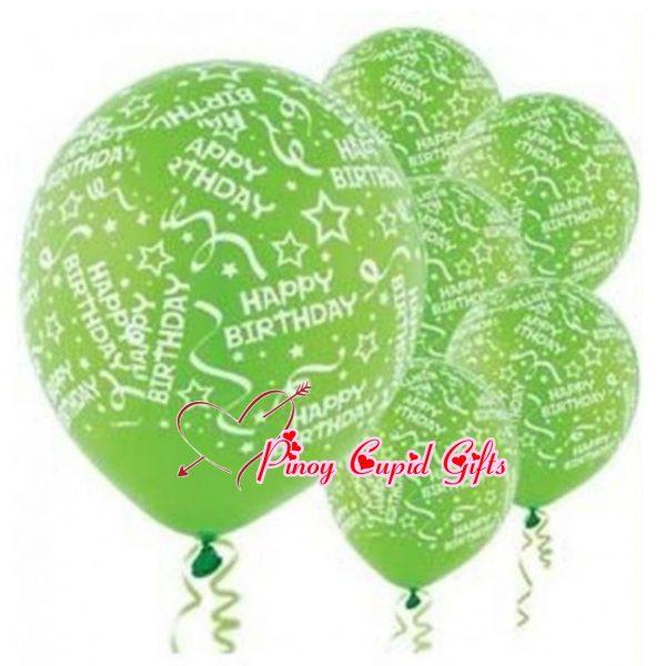 6 Green Birthday Balloons