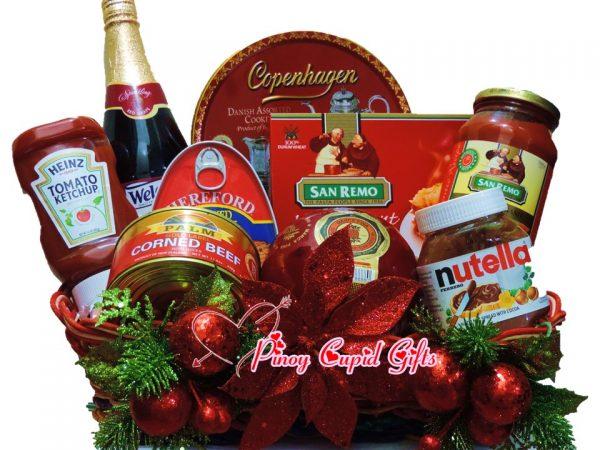 Christmas Basket01: Sparkling Grape Juice, Danish Cookies, Lasagna, Corned, Beef, Ham, Spaghetti Sauce, Nutella, Queso De Bola, Ketchup