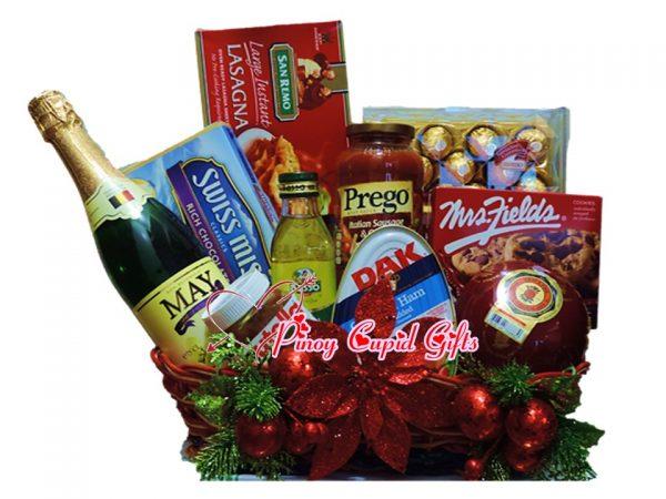 Christmas Basket02:Sparkling Grape Juice, Chocolate drink, Lasaga, Prego Sauce, Cookies, DAK Ham, Chocolates, Olive Oil, Nutella, Queso de Bola