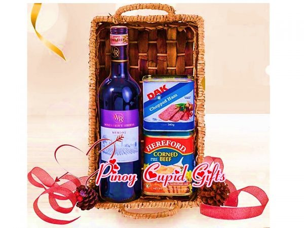 Corned Beef, Ham & Merlot Wine Gift Basket