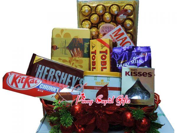 Christmas Chocolate Basket:Ferrero, Alfredo, KitKat, Hershey's, Toblerone, Vochelle, Macadamia, Cadbury