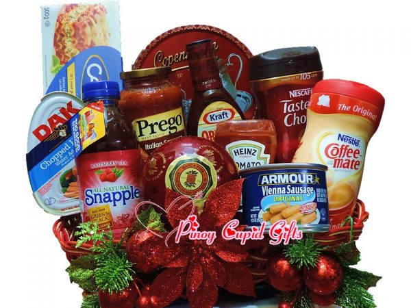 Christmas Basket08: DAK Ham, Snapple Tea, Spaghetti, Prego Sauce, Tomato Sauce, BBQ Sauce, Vienna Sausage, Cookies, Taster's Choice, Coffemate, Queso de Bola Ham