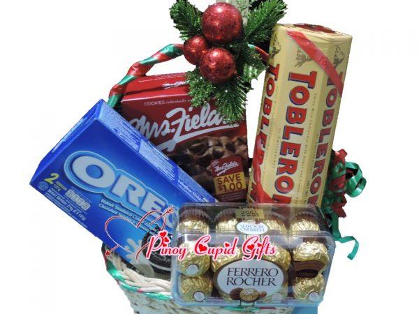 Christmas Basket10: Oreo Cookies, Mrs Fields Cookies, Ferrero & Toblerone Chocolates