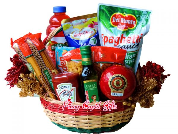Spaghetti Basket: San Remo, Spaghetti Sauce, Tomata Ketcup, Eden Cheese, Olive Oil, Cranberry Juice, Mayonnaise, Queso de Bola