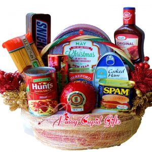 Christmas Basket 13: Holiday edition cookies, Chocolate, Ham, Spam, Corned Beef, BBQ Sauce, Queso de Bola