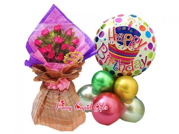 1 Dozen Pink Roses Bouquet, Happy Birthday Mylar Balloons